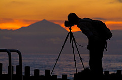 Photographer enjoying the sunset