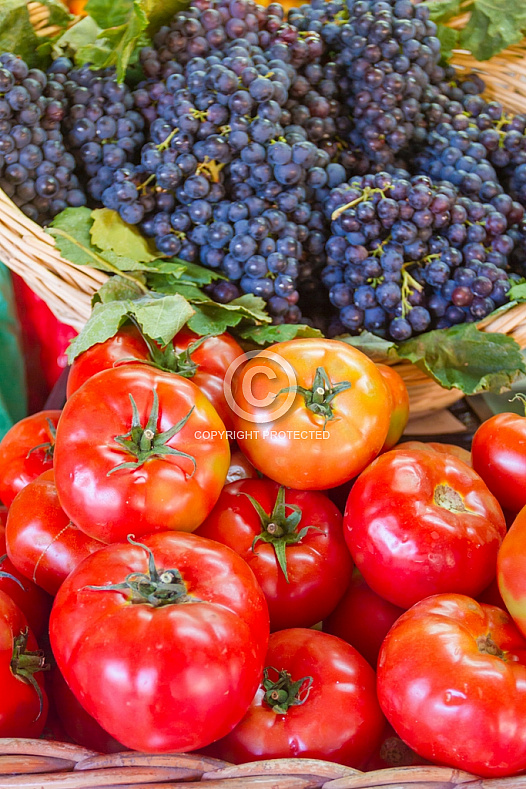 Tomatoes and grapes