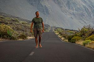 Man on typical El Hierro road