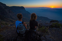Enjoying the sunset over Tenerife over the sea of clouds
