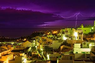 Lightning over the ocean