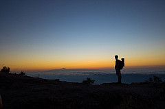 Looking over the sea of clouds towards Tenerife at dusk