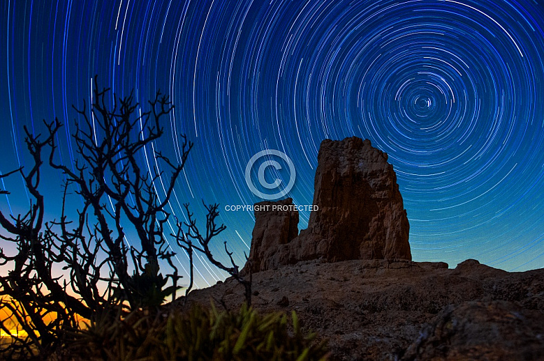 Star trails at the Roque Nublo
