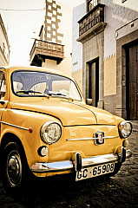Seat 600 (classic car) in historical centre of Las Palmas