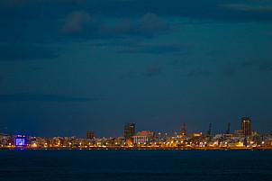 The skyline of Las Palmas in the evening