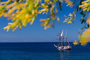 Sailing yacht near the coast